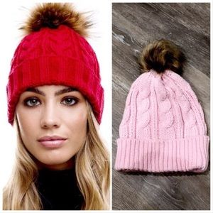 """Accessories - """"LAST ONE"""" 🆕 Pink Cable Knit Beanie with Pom Pom"""